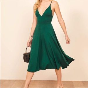 NWT Reformation Strada Emerald Midi Dress Small